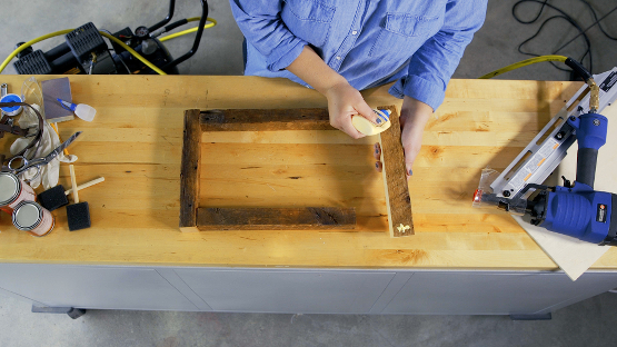glue pieces of barn wood tray together