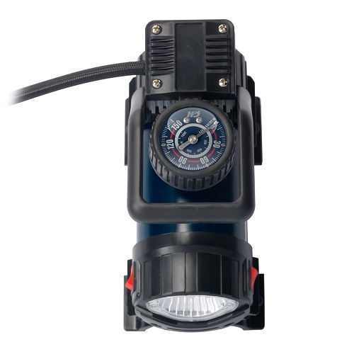 Campbell Hausfeld Mighty 12-Volt Inflator (AF010400) top view and gauge view