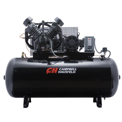 Campbell Hausfeld Air Compressor, 120-Gallon Fully Packaged Horizontal Two-Stage 36CFM 10HP 208-230/460V 3PH (CE8001FP) product image center