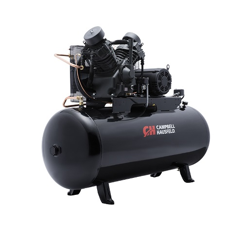 Campbell Hausfeld Air Compressor, 120-Gallon Fully Packaged Horizontal Two-Stage 36CFM 10HP 208-230/460V 3PH (CE8001FP) product image right