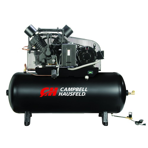 Campbell Hausfeld Air Compressor, 120-Gallon Fully Packaged Horizontal Two-Stage 52.4CFM 15HP 208-230/460V 3PH (CE8003FP) product image center