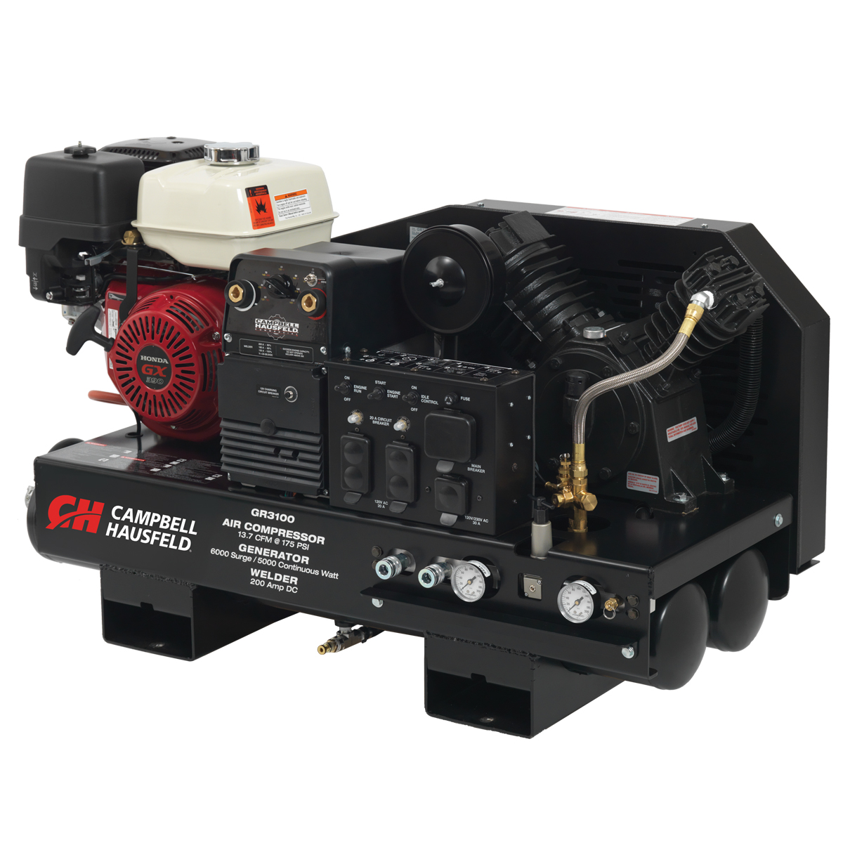Campbell Hausfeld Combination Unit, 10-Gallon 14CFM Compressor 5000W Generator 180A Welder GX390 Honda (GR3100) product image left angle