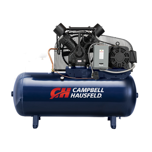 Campbell Hausfeld Air Compressor, 120-Gallon Horizontal Two-Stage 52.4CFM 15HP 208-230/460V 3PH (TX2116) product image center